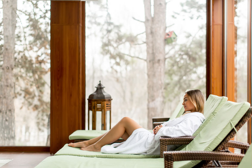 Woman relaxing at a day spa